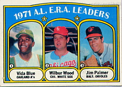 1972 Topps Baseball Cards      092      Vida Blue/Wilbur Wood/Jim Palmer LL